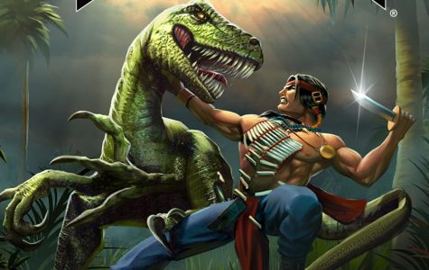 Rip & Tear:  A staple of my childhood, Turok remains a great shooter, antiquated or not. Pictured is art depicting protagonist Tal'Set, dispatching a dinosaur.