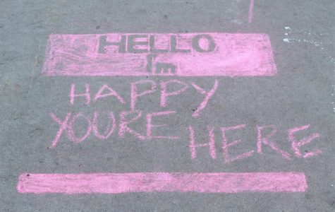 Happy you're here: The art piece shows positive messages that students can see around campus. It was made for Kat Martin's sculpture project.
