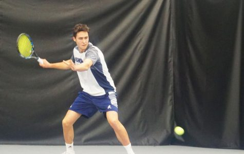 Sweeping success: Marc Roura Casi sets up to smack a forehand during his singles match against Newman University.