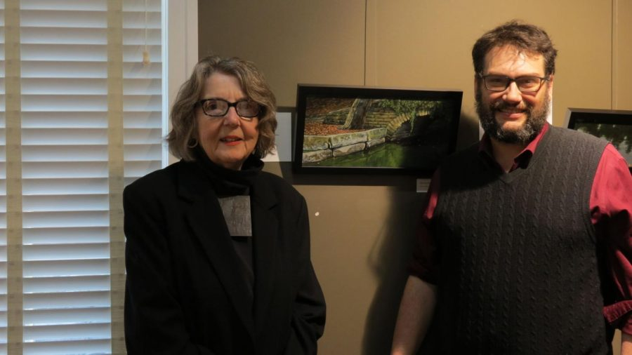 Two Ponders or not to ponders: Barbara Waterman-Peters and Dennis Etzel, Jr. pose with one of their favorite collaborations.