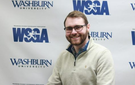 Hands over chair: Zac Surritt is the current president of Washburn Student Government Association. He became a senator again.