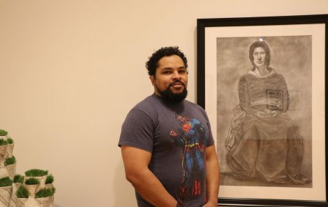 Passion of art. Aldrick Scott is a senior art major. He shared his story of survival with his art works.