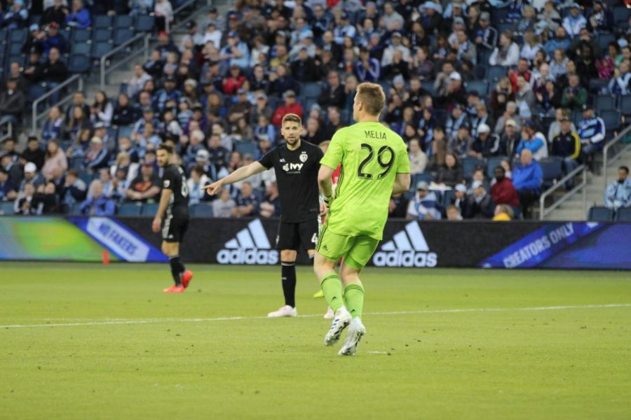 Play it: Defender Andreu Fontas requests the ball to places in front of him from goalkeeper Tim Melia. Sporting KC would fall on Saturday, 4-1, to the San Jose Earthquakes.