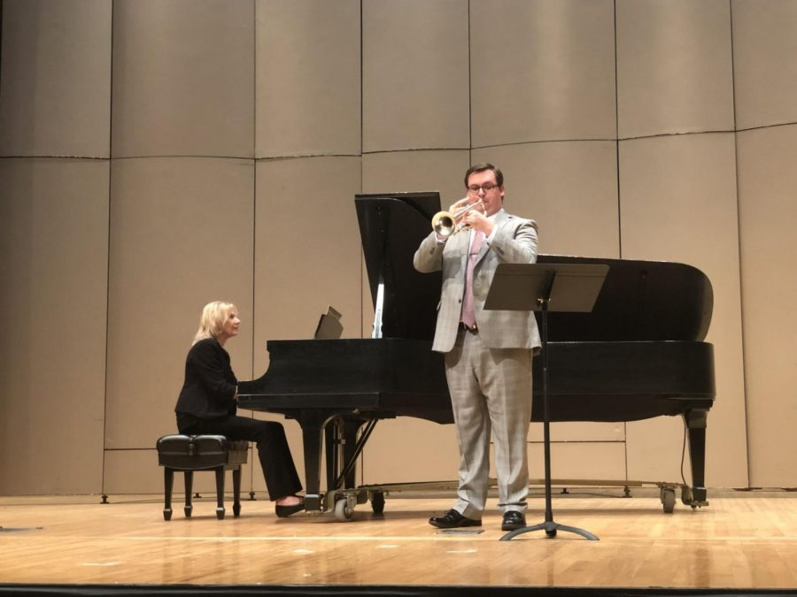 Honors: Dalton Imhoff-Brey playing his trumpet at the 2019 honors concert. Imhoff-Brey was one of the six performers that evening.