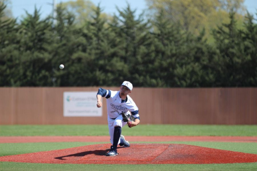 Wound+up%3A+Junior+pitcher%2C+Brock+Gilliam%2C+pitches+the+ball+to+an+Emporia+State+batter.+Gilliam+threw+eight+innings+and+only+allowed+three+runs+on+the+mound+on+Saturday.
