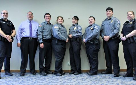 The Team:Along with the Cadets, Sergeants Drew Liggett and Danielle Wolf were present, as well as Chief Chris Enos. Pictured from left to right: Liggett, Enos, Wiltz, Hensler, Kine, Sheets, Donaldson, and Wolf.