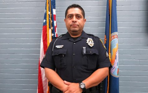 Officer: Sergeant Vidal Campos stands proud.