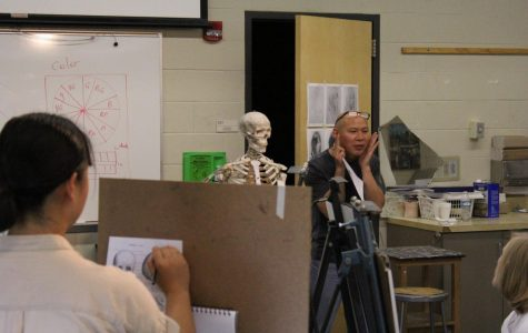 Know your subject: Professor Wang holds both hands against his face to bring attention to bone structure. Wang took time to describe each part of the skull to his students before they began their sketches.