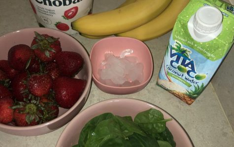 WHAT YOU NEED:(Frozen) 2 cups of Strawberries. (I usually freeze my fruit before it starts to go bad so that I can add them to smoothies as an ice substitute.)2 whole bananasIce (use as desired)Coconut water2 cups of Greek yogurt1 cup and a half of fresh spinach leaves