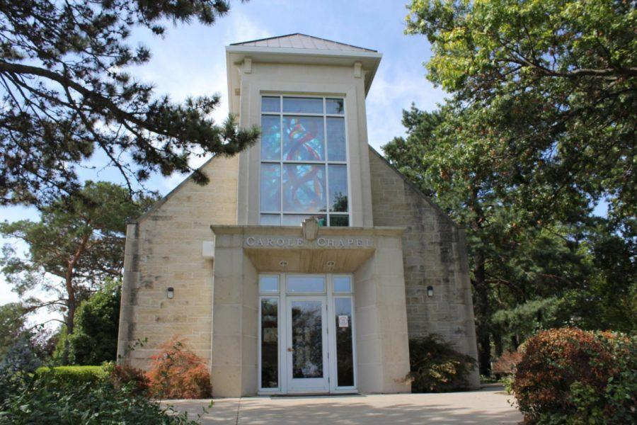 Calm in chaos: Carole Chapel stands proudly on Washburn's campus, bearing the name of the late Carole Etzel. The chapel was gifted to Washburn's campus in December of 2003.