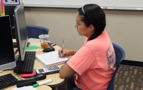 Christina Martin, sophomore human services major, does her math homework in the learning laboratory.