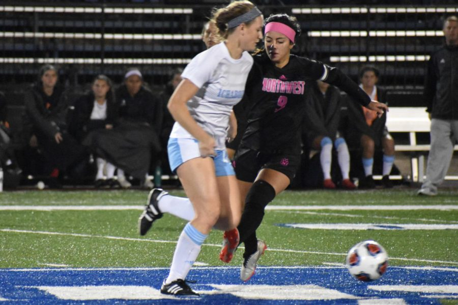 Highway robbery: Freshman Lauren Dietrick robs a Northwest player of the ball and makes her way down the field. In high school, Dietrick tallied 59 goals in her three years playing soccer.