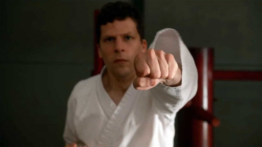 Bloodsport: 'The Art of Self-Defense' is a film that revels in its very dark brand of off-beat comedy, and is brutal in so many ways. Pictured is Jesse Eisenberg as Casey.