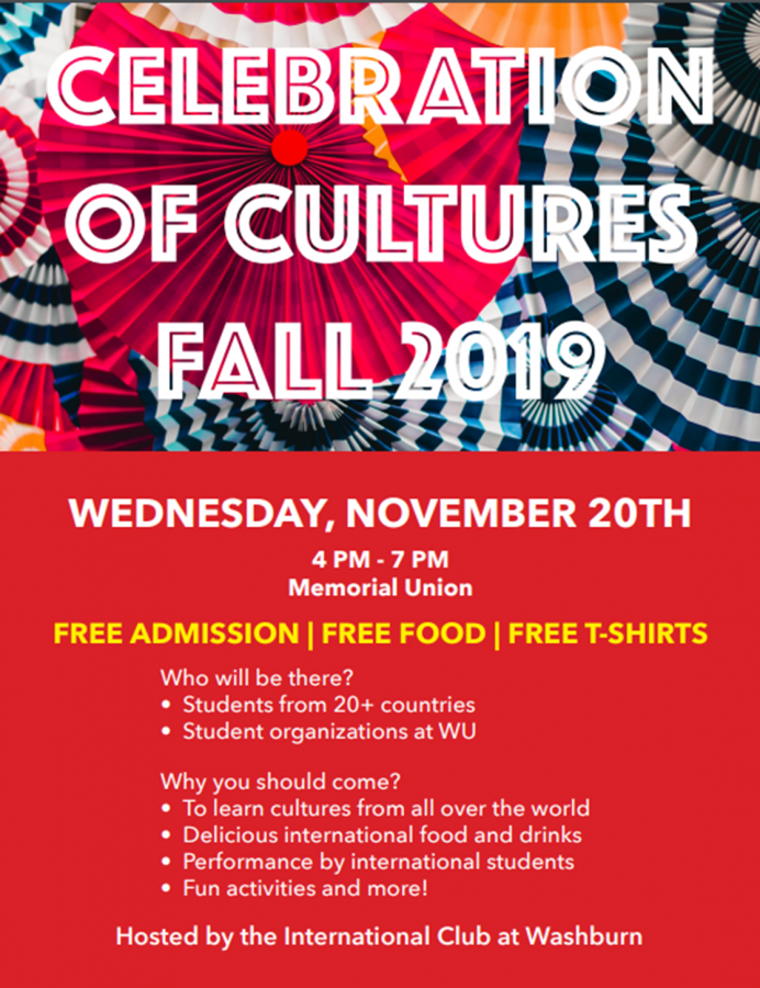 Celebration of cultures: The 2019 Celebration of Cultures will be in the Memorial Union from 4 p.m. to 7 p.m. Wednesday, Nov. 20. Everyone is welcome to have fun and support international students.
