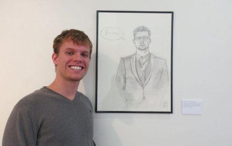 Portrait art: Isaac Bird standing next to his work,Beans. This piece is a portrait of his good friend Brook Harper.