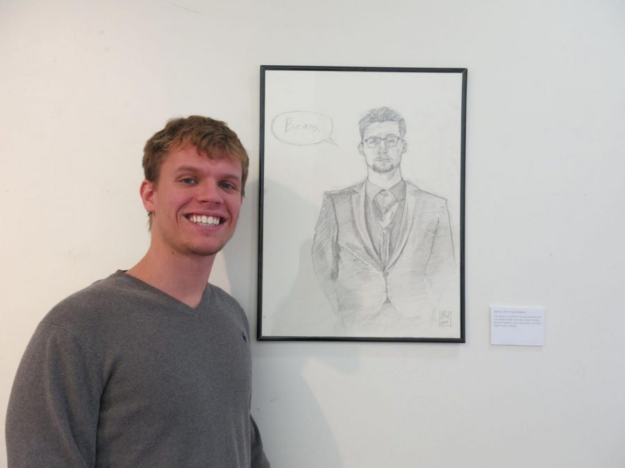 Portrait art: Isaac Bird standing next to his work, Beans. This piece is a portrait of his good friend Brook Harper.