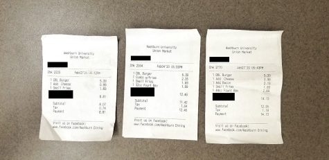 Very interesting: Pictured are three receipt from three different orders at the Union Market. Left: $8.81 Middle: $12.46 Right: $14.13.