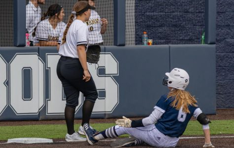 Safe: Freshman infielder Hadley Kerschen slides into third base for a triple. 2020 is Kerschen's first year as an Ichabod.