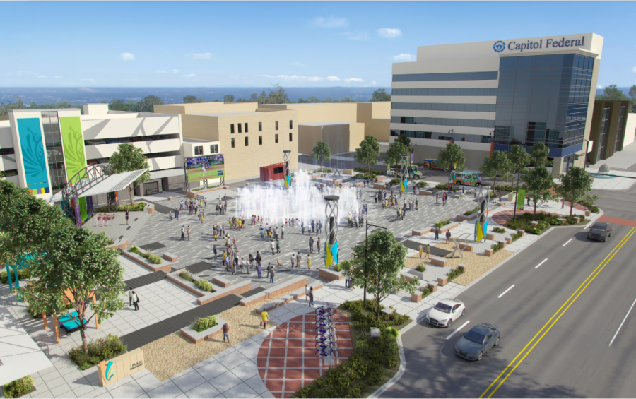 Downtown hotspot: Evergy Plaza hopes to attract thousands of visitors to downtown Topeka every year. Once completed it will hold a water feature, a performance stage and extensive gardens.