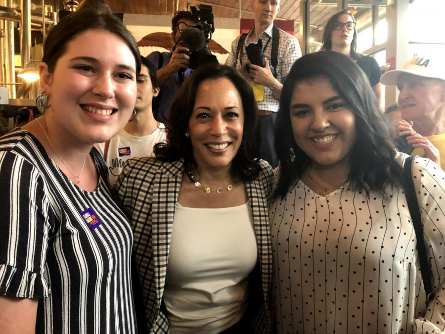 Senator+Kamala+Harris+poses+with+two+Washburn+students+during+the+Iowa+Caucuses.+She+was+more+than+willing+to+pose+for+a+photo+or+two+with+her+rally+attendees.