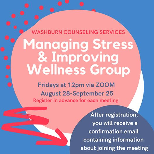 Counseling Flier Managing Stress, Fridays at noon via zoom, Aug. 28-Sept. 25