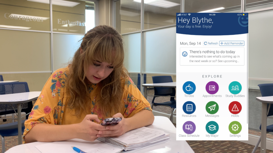 Succeeding Together: Washburn student Blythe Landon demonstrates how to use Study Buddies. Students like her have been using the new tool to connect with others to get help during the pandemic.