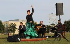 Melinda Hedgecorth performing a Flamenco dance during the Spanish songs