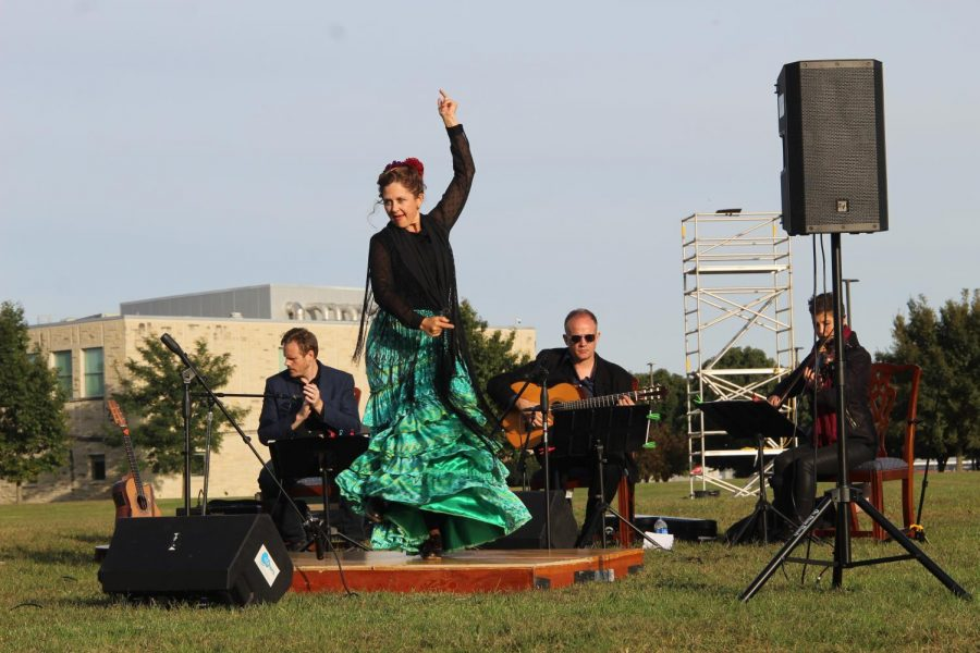 "Melinda Hedgecorth performing a Flamenco dance during the Spanish songs ""Sevillanas"" and ""Son Cubano."" Hedgecorth has studied, performed and taught Flamenco for many years."