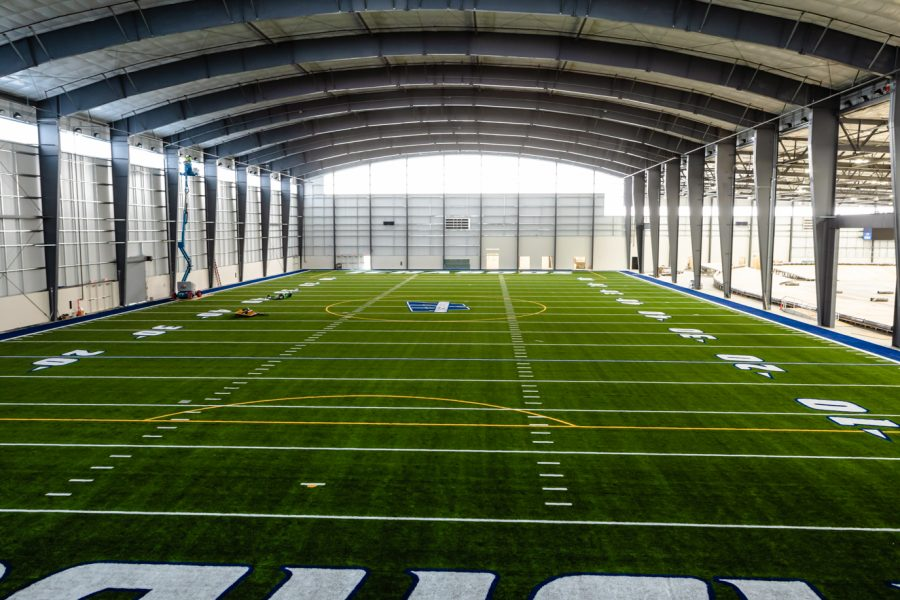 Full view of the new football field inside the sports arena.