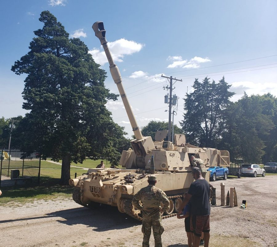 A picture of one of the M109A6 155mm self-propelled howitzers that we showed to the Newton Community during a community event.