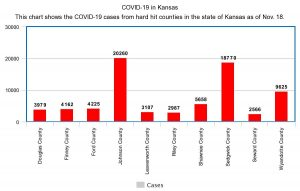 COVID-19 numbers from Washburn and the state of Kansas: Updated 11/18/2020