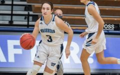 Fast and furious: Washburn's freshman guard Aubree Dewey driving the ball down to run the offence. Dewey had a total of three steals and two assists in Saturday's game against Newman University.