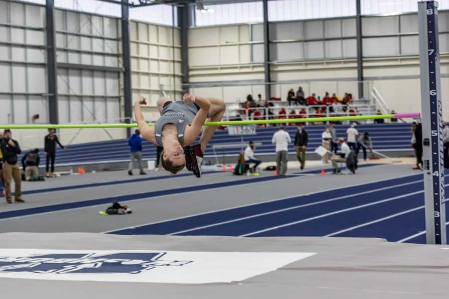 Mad air: Washburn's sophomore Skyler Saunders cleared the bar on her high jump during Saturday's meet. Saunders placed 2nd in the Kansas Open with a height of 1.66 meters.
