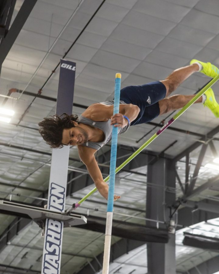 You don't need wings to fly: Washburn's sophomore pole vaulter Zac Chandler placed 5th with a height of 4.48 meters during the 2021 MIAA Rust Buster.