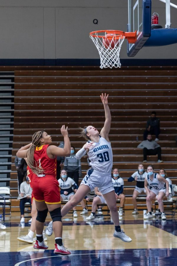 Put it through for two: Macy Doebele taking it to the basket for the field goal. Doebele had a total of five rebounds during Saturday's game.