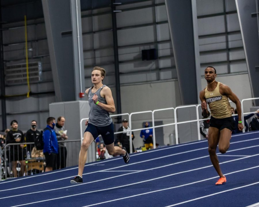 Flash: Washburn's Wyatt Heiman closing the gap in the men's 200-meter dash. Heiman placed 35th with a time of 22.70 seconds on Saturday at the Washburn Open track meet.