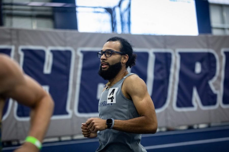 Washburn's Michael Pearl competes in the men's heptathlon 1K, achieving 4th place with a time of 2:55.39 during the Washburn Open on Saturday.