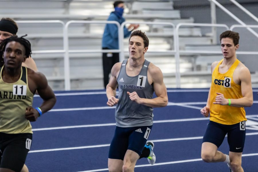 Washburn's Logan Stock finds his place in the pack during the men's 1K. Stock finished in 8th place with the time of 2:58.69 during the competitions at the Washburn Open Saturday, Jan. 30.
