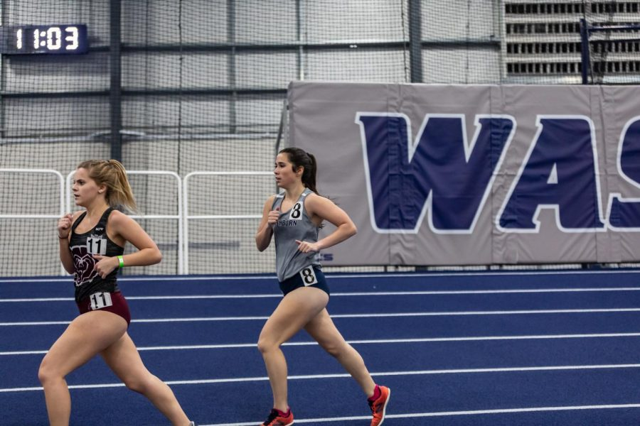 Washburn's Kelsie Dent finds a steady pace in the women's 3000 meter. Dent competed on day two of the Washburn Open Saturday, Jan. 30. She placed 16th with a time of 11:26.56.