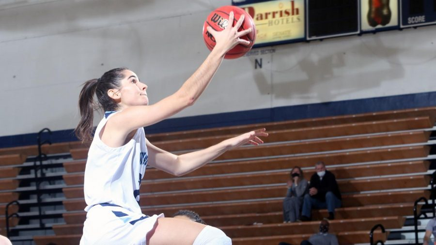 Nuria Barrientos goes in for two of her 14 points in Washburn's 76-66 win over Northeastern State Feb. 6 in Lee Arena. Barrientos recorded her seventh double-double of the season adding 12 boards to go with three steals and two assists.