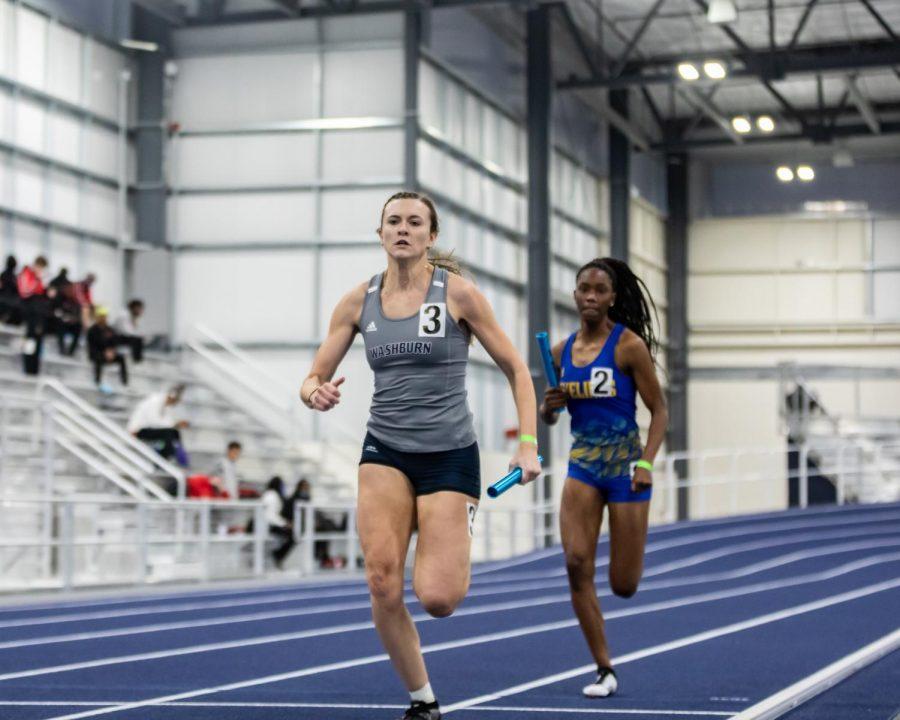 Anchor Leg: Washburn's Lyndsay Stinson rushing toward the finish line in the 4x400 relay.
