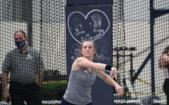 Far out: Taylor Grasser let go of her shot put, landing at 7.31 meters. This length helped Grasser place 10th place.