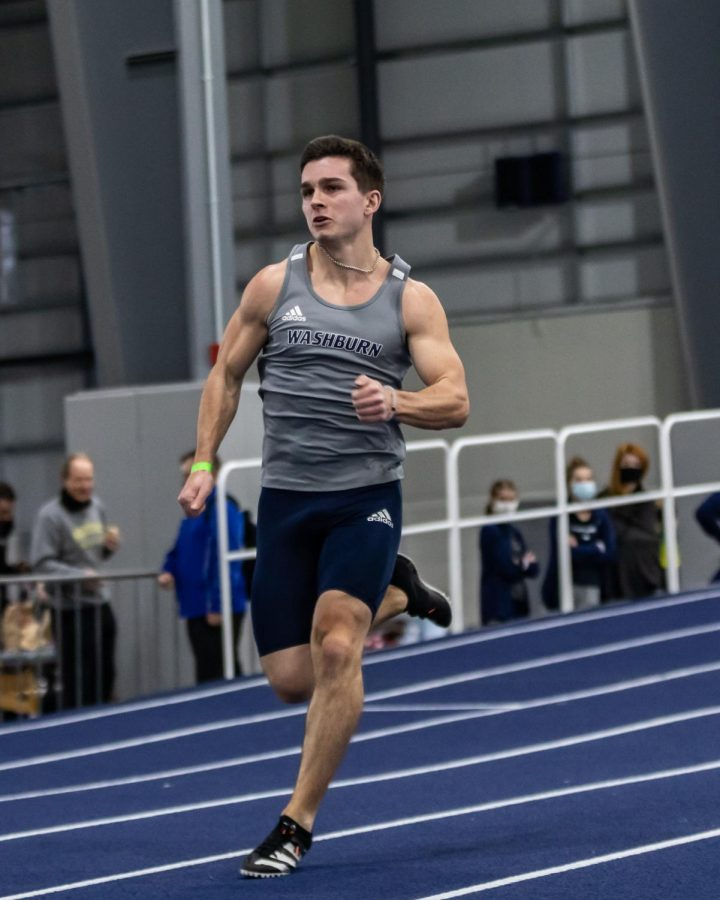 All Heart: Washburn's Josh Wiltz giving everything he has in the 200-meter dash. Wiltz placed 64th in the competition with a time of 23.50 seconds.