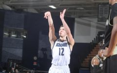 Take the shot: Senior guard Tyler Geiman takes a free throw in the Ichabods victory over Emporia State University.