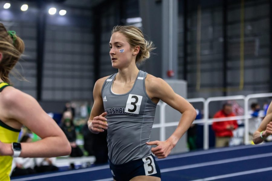 Born to Run: Washburn's Sierra Mortensen running in the women's 5K. Mortensen crossed the finish line in second place with a time of 17:42.22. Mortensen said,