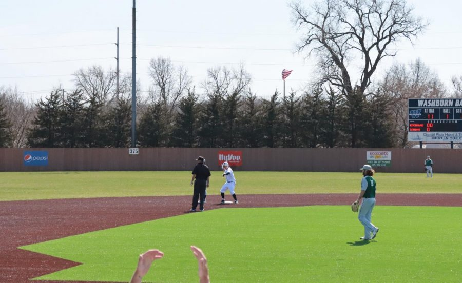 Take a second: Right fielder Parker Dunn celebrates on second base after leading off the inning with a double.