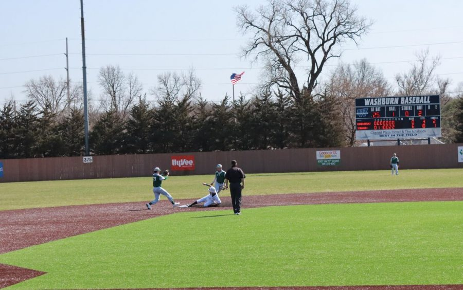 Just in time: Second baseman Tyler Clark-Chiapparelli slides into second base in the Ichabods 7-4 victory.