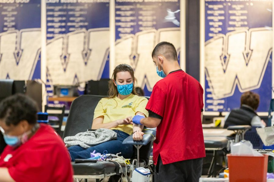Don%27t+be+shy%3A+Washburn+student+Hannah+Mumpower+donating+blood+at+the+HALO+blood+drive+on+March+18.+Her+donation+will+help+others+in+the+community+to+survive.