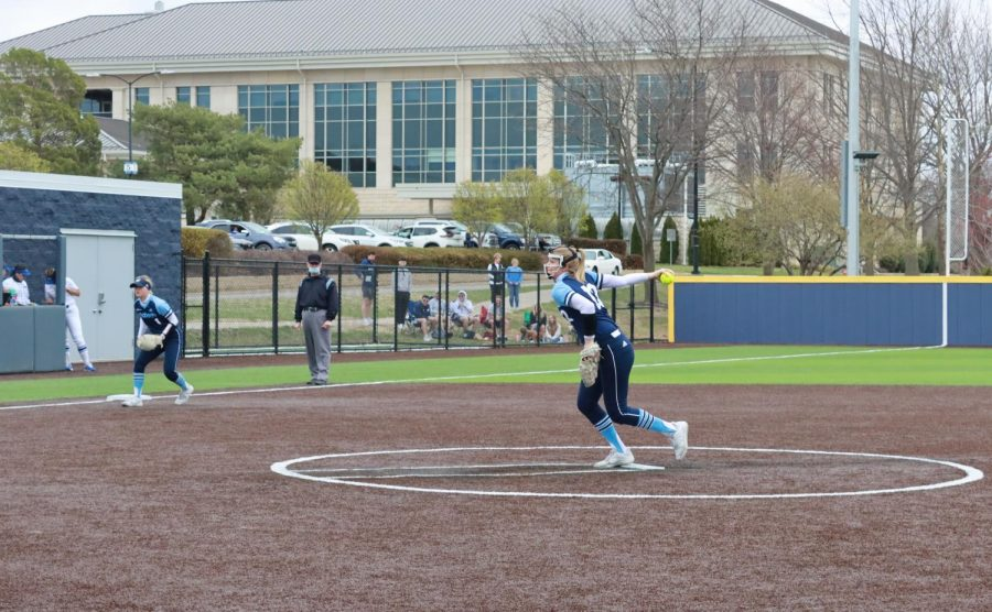 Fast as lightning: Freshman pitcher Jaycee Ginter throws to a Loper hitter, Ginter threw all eight innings for Washburn in the win.