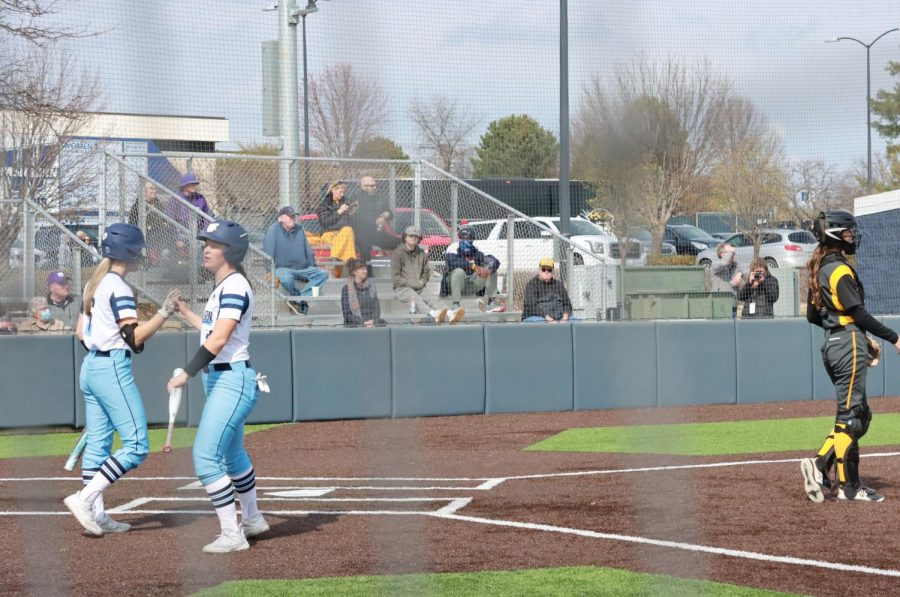 Nice Hit: Hadley Kerschen and Maddie Stipsits celebrate after Stipsits scored to give the Ichabods a 2-0 lead.